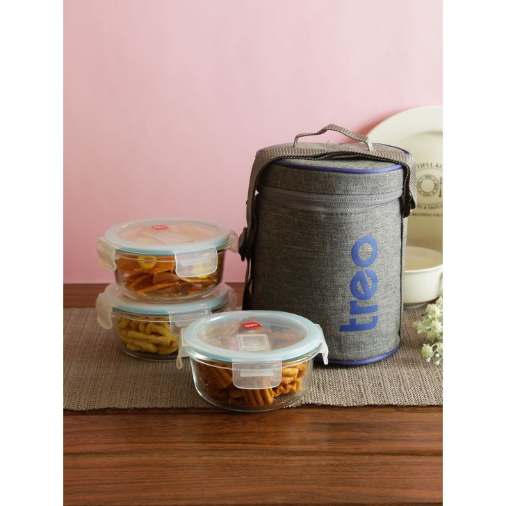 Treo Borosilicate Glass Lunch box in Multi Colour by HomeTown
