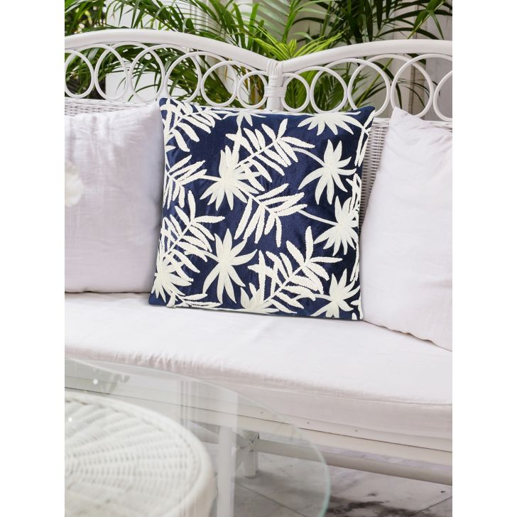Tropical Safari Royal Fern Polyester Cushion Covers in Blue Colour by Living Essence