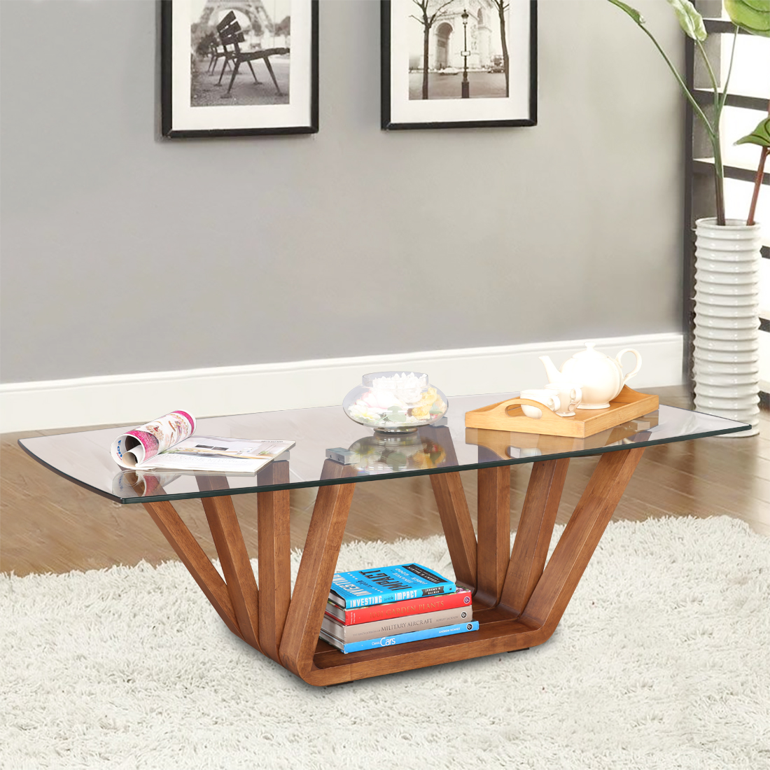 Hobart Engineered Wood Glass Top Center Table in Brown Colour by HomeTown