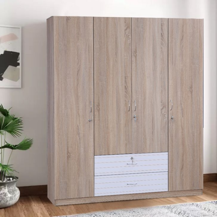 Molly Engineered Wood Four Door Wardrobe in Oak & White Colour by HomeTown