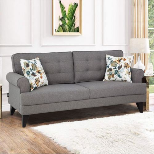 Buy Miller Fabric Three Seater Sofa In Grey Colour By Hometown