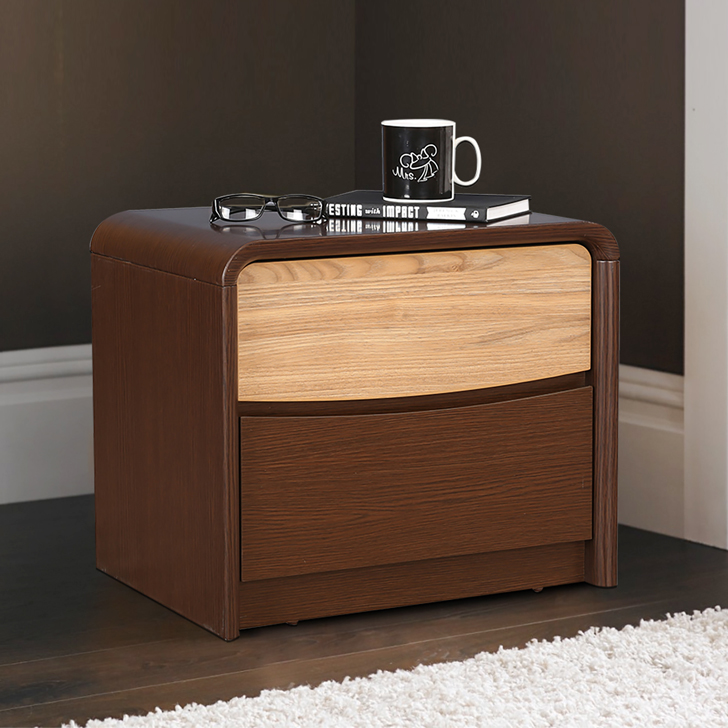 Bethovan Engineered Wood Bedside Table in Walnut Colour by HomeTown