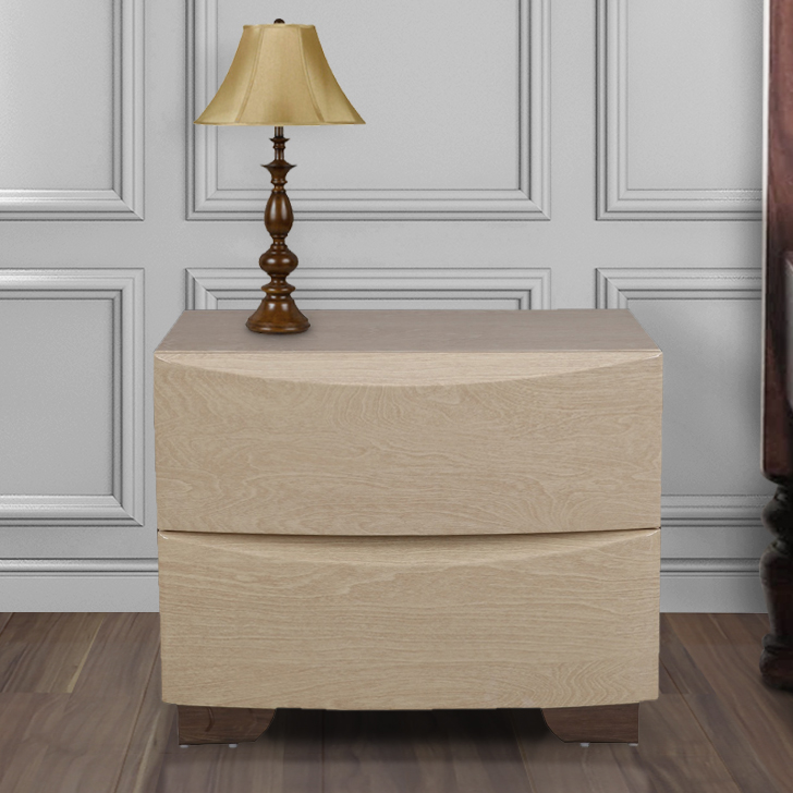 Aurelia Engineered Wood Bedside Table in High Gloss Light Maple Colour by HomeTown