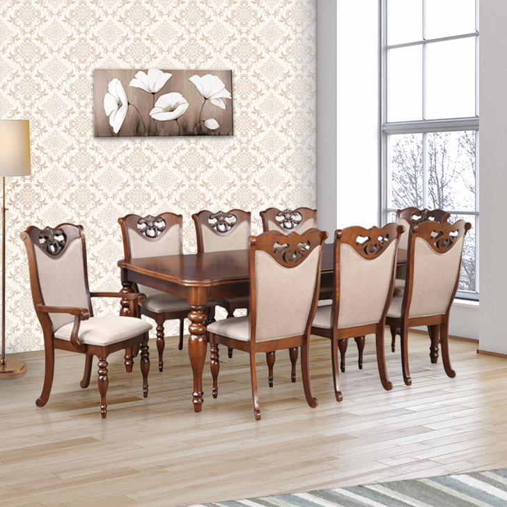 Hubert Solid Wood Eight Seater Dining Set in Dark Brown Colour by HomeTown