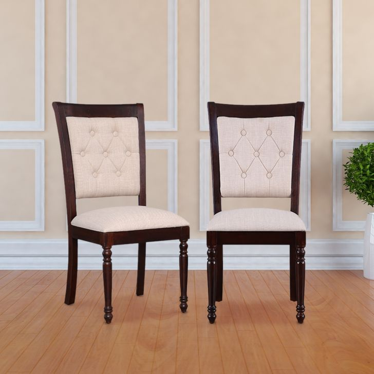 Royal Solid Wood Dining Chair Set of Two in Dark Walnut Colour by HomeTown