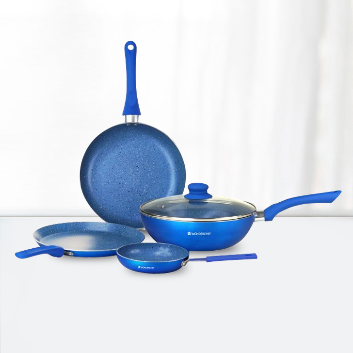 Wonderchef Royal Velvet Blue Cookware Set 5Pc Aluminium Cookware Sets in Blue Colour by Wonderchef