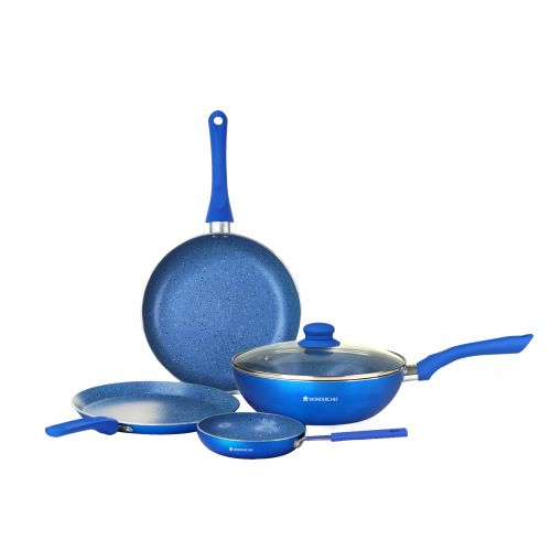 Buy Wonderchef Royal Velvet Blue Set Aluminium Cookware Sets In Blue