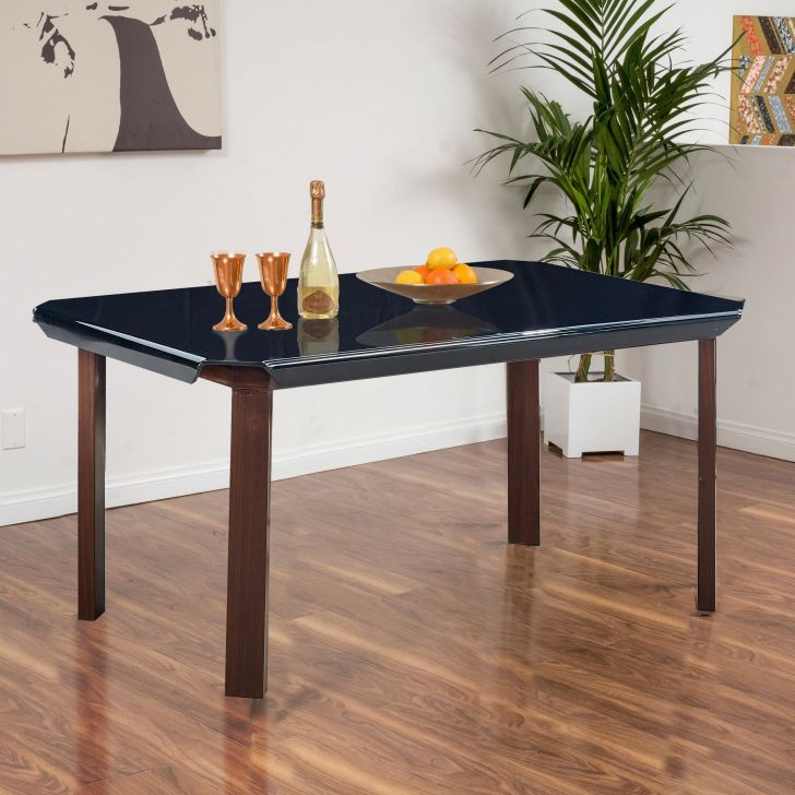Bentley Mild Steel Six Seater Dining Table in Black Colour by HomeTown