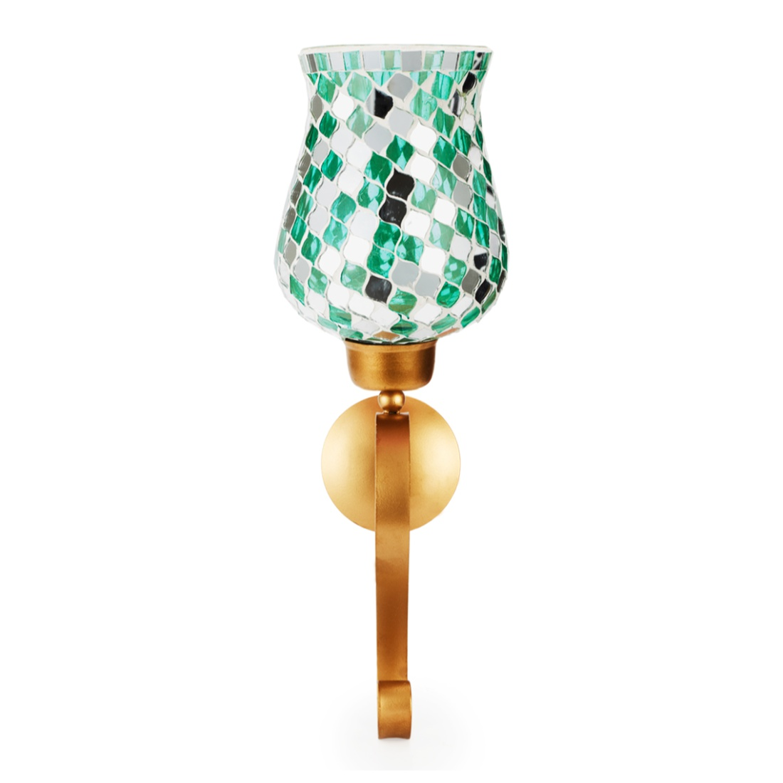 Ahana Mosaic Window Stand Candle Holder Teal Glass Small Wall Accents in Teal Colour by Living Essence