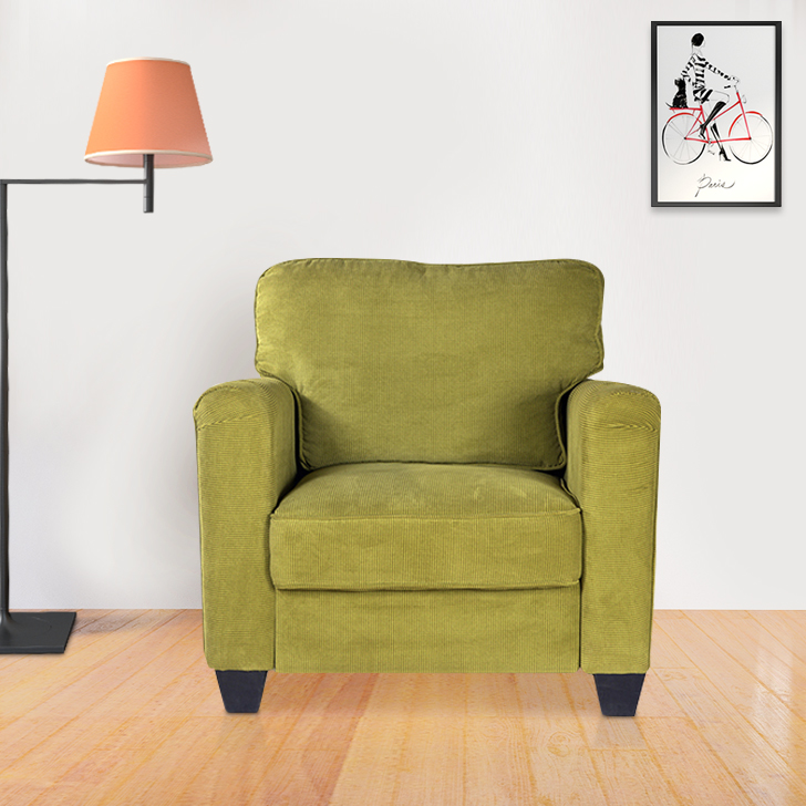 Trent Fabric Single Seater Sofa in Lime Green Colour by HomeTown