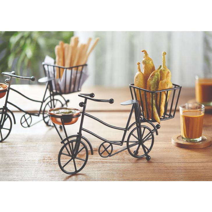 Bicycle Snack Stand Metal Serving Sets in Black Colour by Songbird