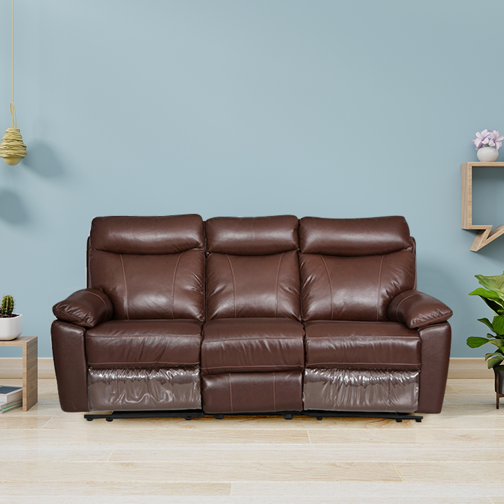 Lancaster Half Leather Three Seater Sofa in Dark Brown Colour by HomeTown