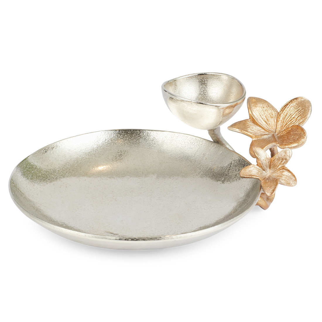 Jashn Silver Round Platter With Flower Accent Metal Table D in Silver Colour by Living Essence