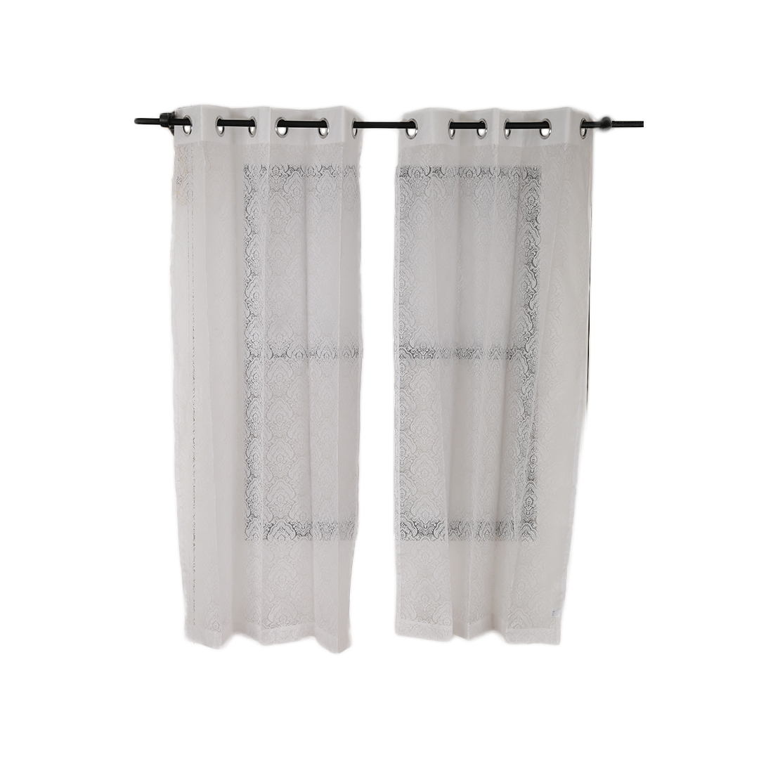 Amour Sheer Window Curtain White Set of 2 Cotton Polyester Sheer Curtains in White Colour by Living Essence