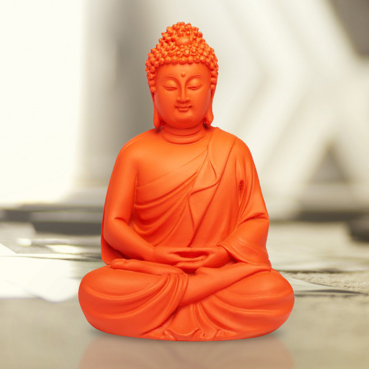 Bliss Color Buddha Polyresin Idols in Matte Tangerine Colour by Living Essence