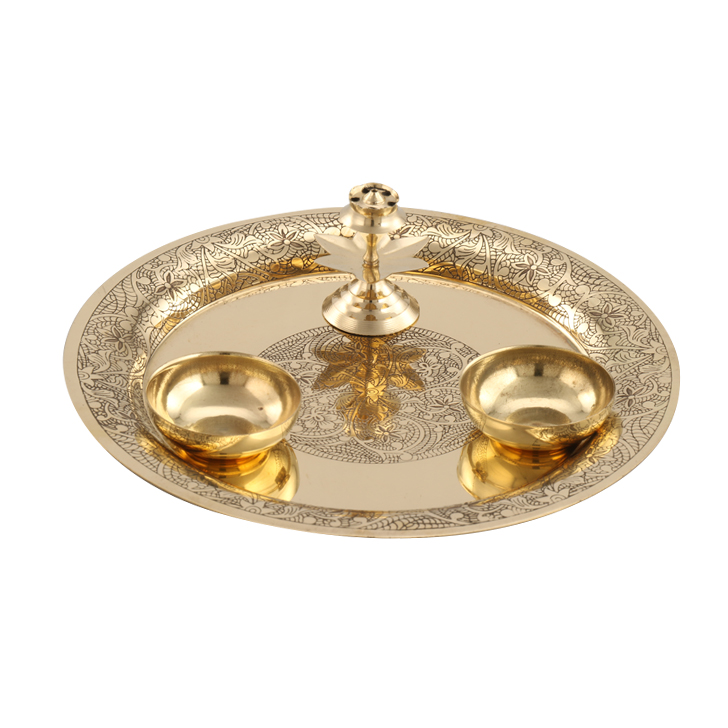 Etched Pooja Thali Gold Brass  in Gold Colour by Living Essence