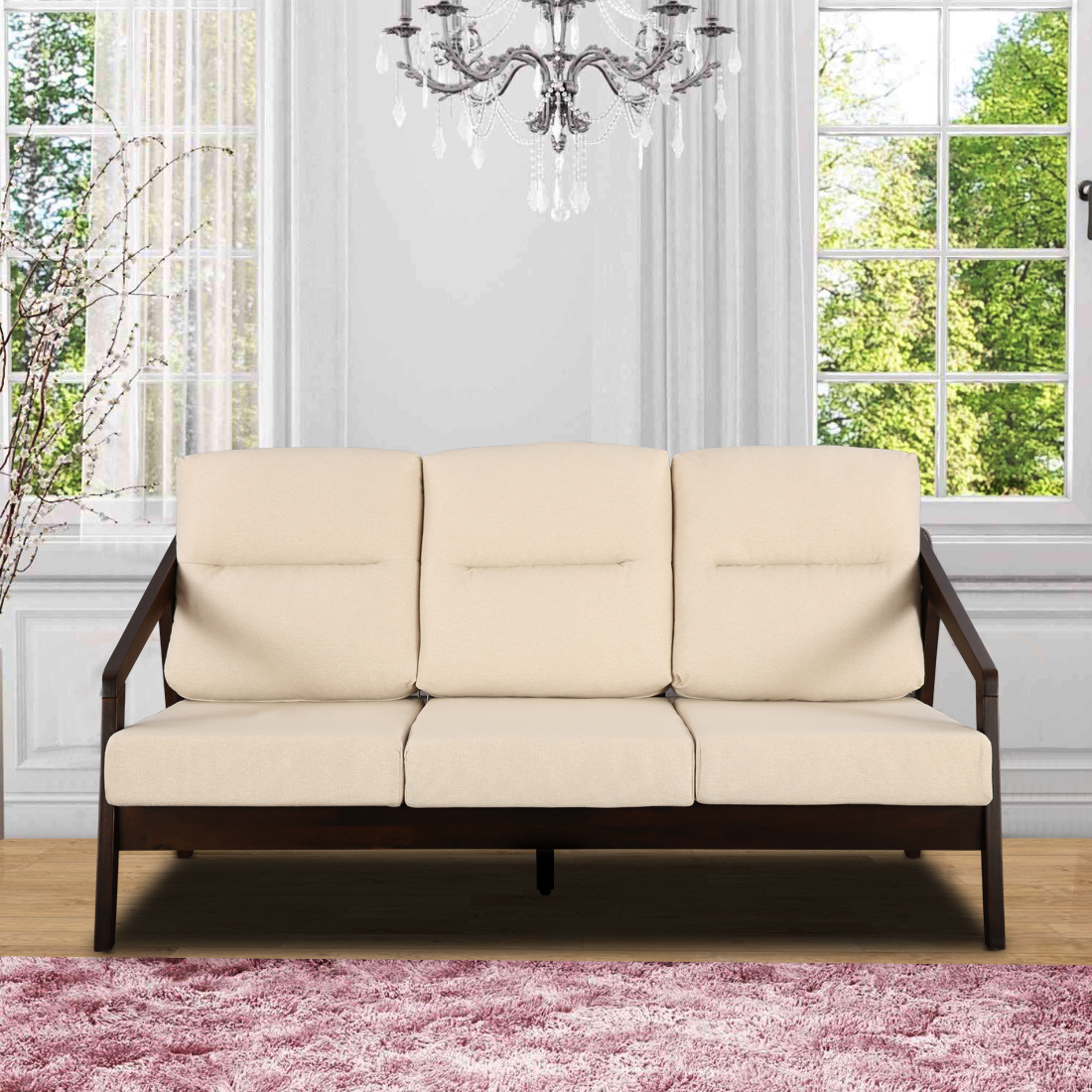 Borris Solid Wood Three Seater Sofa With Cushions in Beige Colour by HomeTown