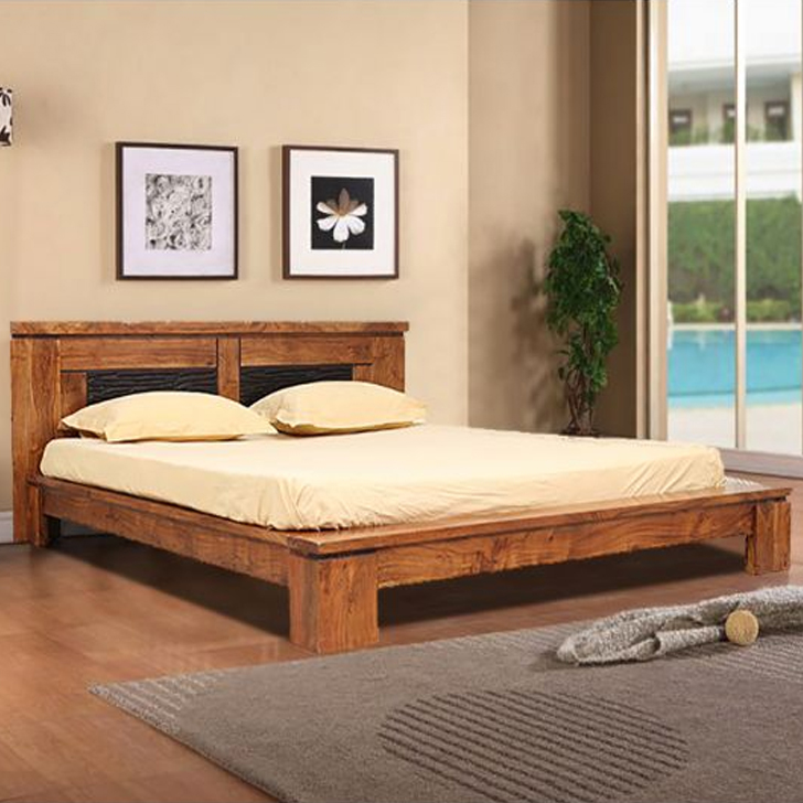 Leopold Solid Wood Queen Size Bed in Brown Colour by HomeTown