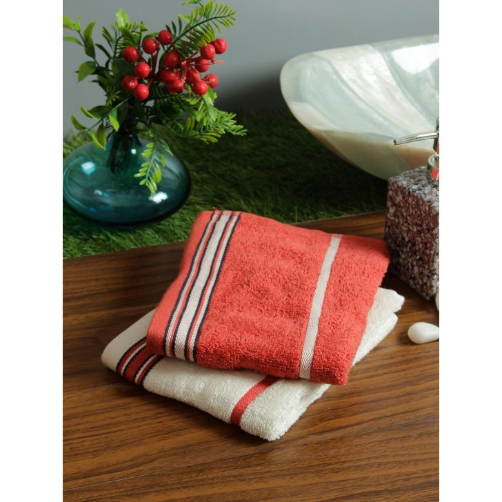 Set of 2 Emilia Cotton Hand Towels in Rust Off White Colour by Living Essence