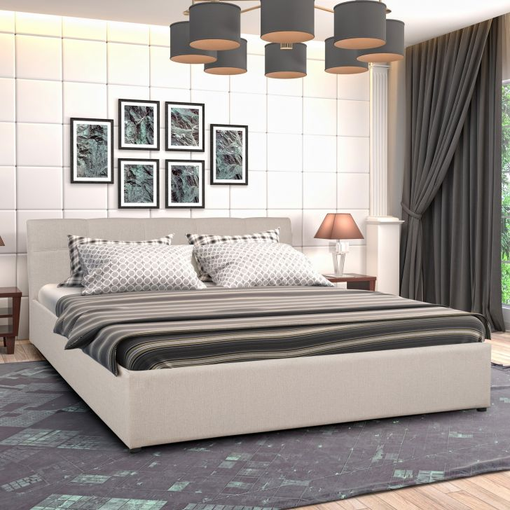 Allen Upholstered King bed with Box storage in Taupe Colour