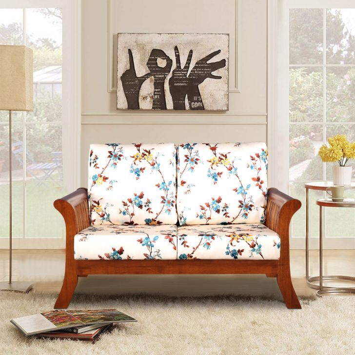 Aubrey Solid Wood Two Seater Sofa With Cushion in Floral Colour by HomeTown