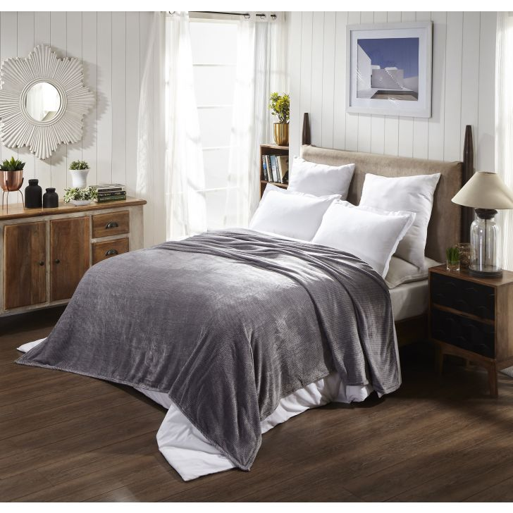 Portico New York Jersey Double Blanket in Grey Color by Portico