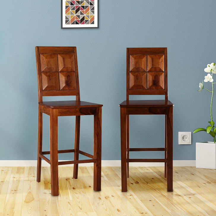 Woodrow Solid Wood Bar Chair and Stool in Honey Colour by HomeTown