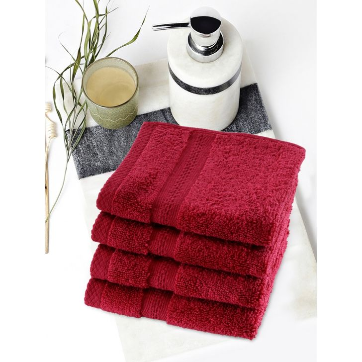 Paradiso Cotton Set Of 4 Face Towel 30X30 Cm 500 Gsm in Burgundy Colour