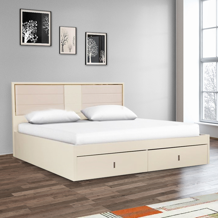 Stellar Engineered Wood Hydraulic Storage Queen Size Bed in High Gloss White Colour by HomeTown