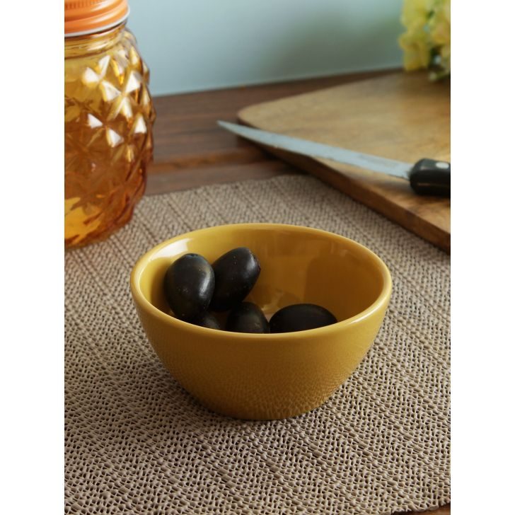 Ceramic Bowls in Mustard Colour by Living Essence