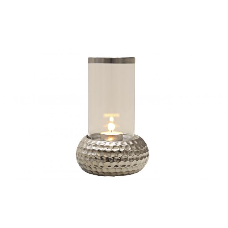 Sterling Hammered Round Base Ceramic Candle Holders in Ceramic And Glass Colour by HomeTown