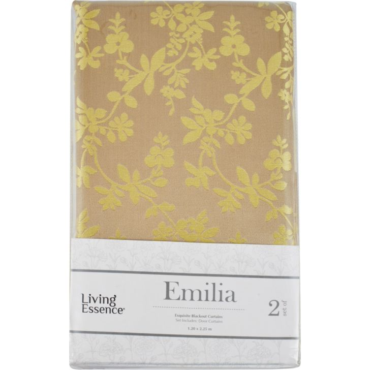 Emilia Jacquard Set of 2 Polyester Door Curtains in Citron Colour by Living Essence