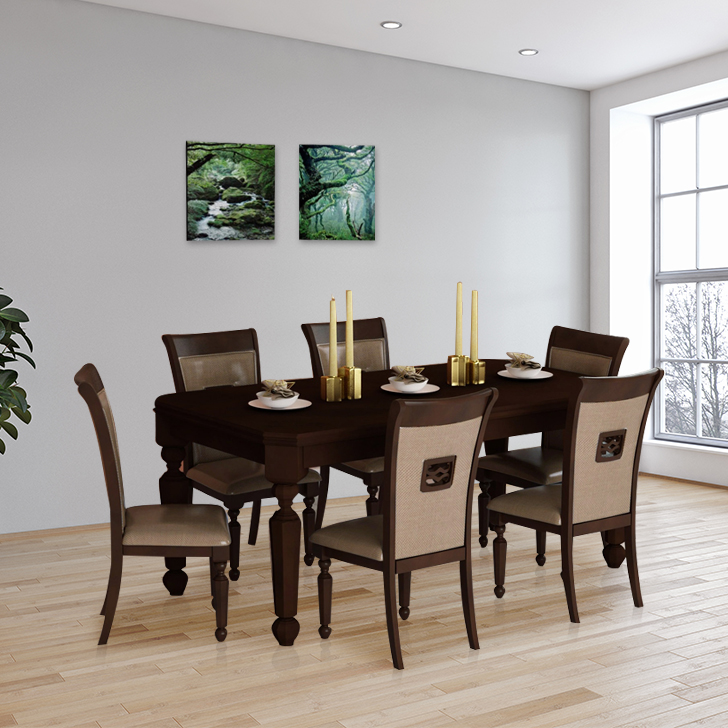 Callisto Solid Wood Six Seater Dining Set in Brown Colour by HomeTown