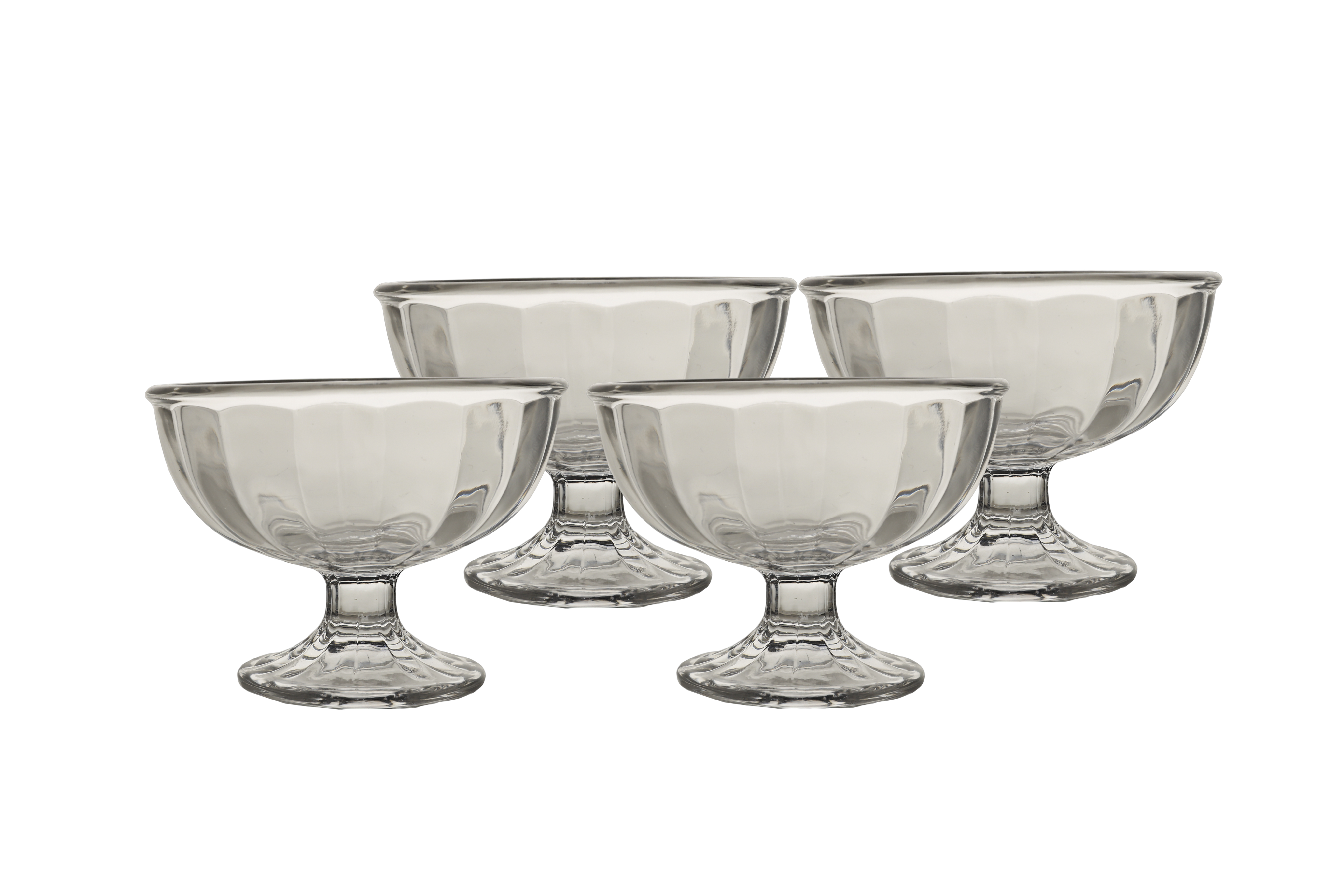 Crescent Bliss Icecream Bowls Set Of Four Glass Dessert Sets in Transparent Colour by HomeTown