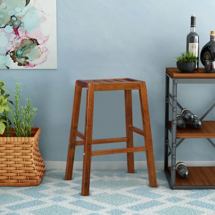 Ossett Solid Wood Bar Stool in Walnut Colour by HomeTown