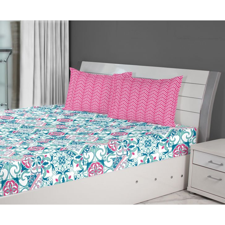 Fiesta Tile Double Bedsheet Cotton Double Bed Sheets in Blue Colour by Living Essence