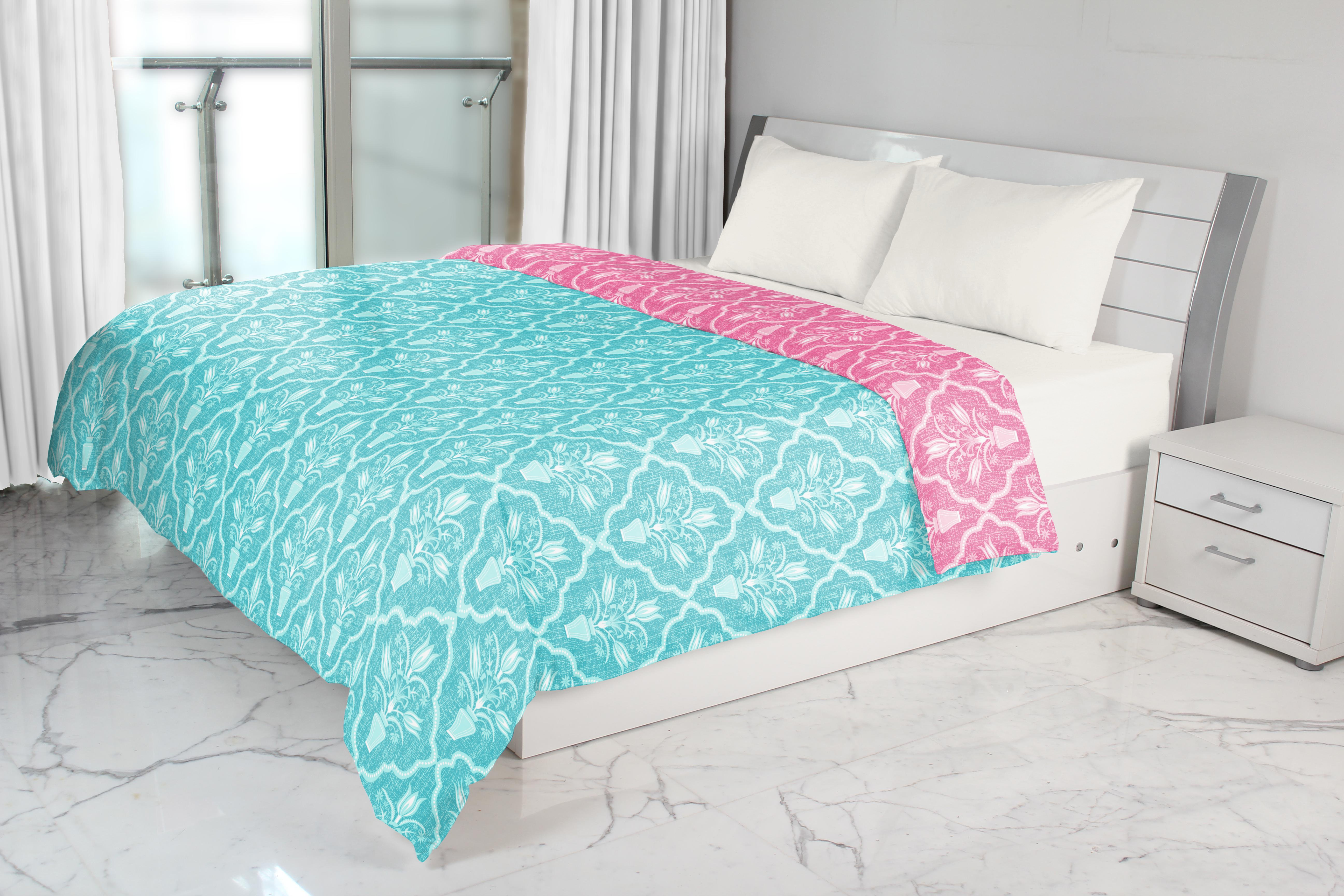 Emilia Single Dohar Rose Turquoise Cotton Dohars in Rose Turquoise Colour by Living Essence