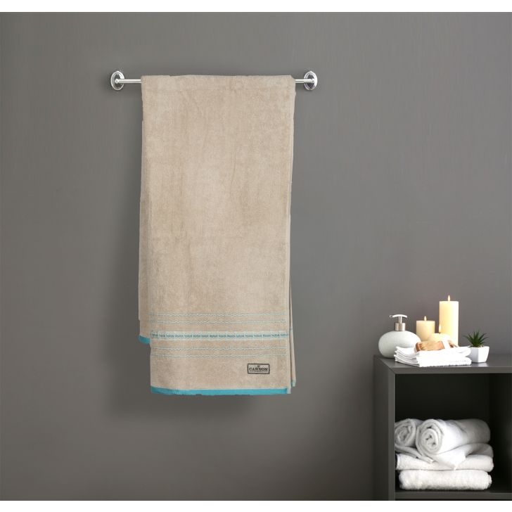 Border Rib Cotton Bath Towels in Beige Colour by Cannon