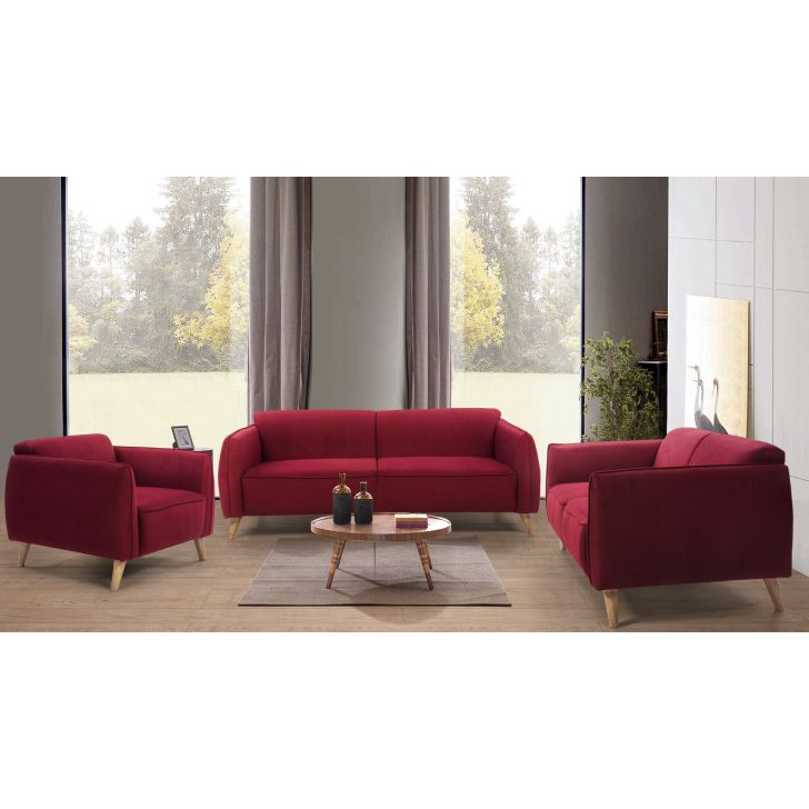 Brawny Fabric Three Seater + Two Seater + Single Seater Sofa Set in Maroon Colour