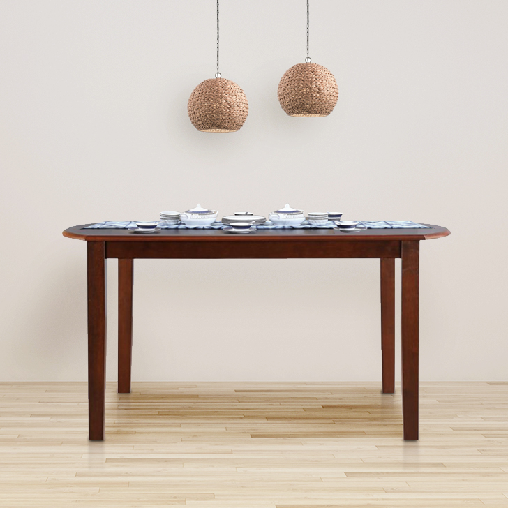 Oliver Solid Wood Six Seater Dining Table in Wenge & Walnut Colour by HomeTown