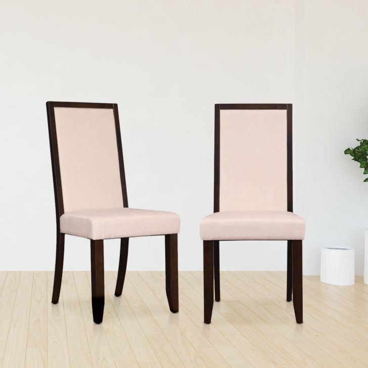 Flexi Solid Wood Dining Chair Set of Two in Cappuccino Colour by HomeTown