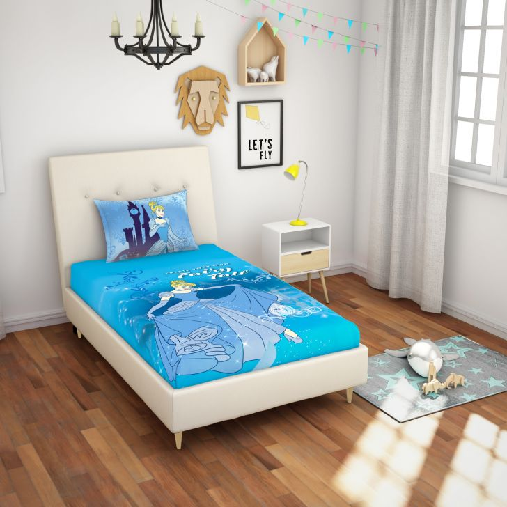 Spaces Disney 180 Tc Cotton Blue Single Bedsheet With 1 Pillow Cover