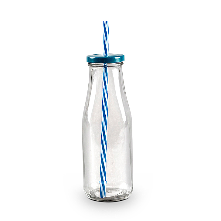 Juice Bottle Blue Glass Glass Bottles in Transparent Colour by Living Essence
