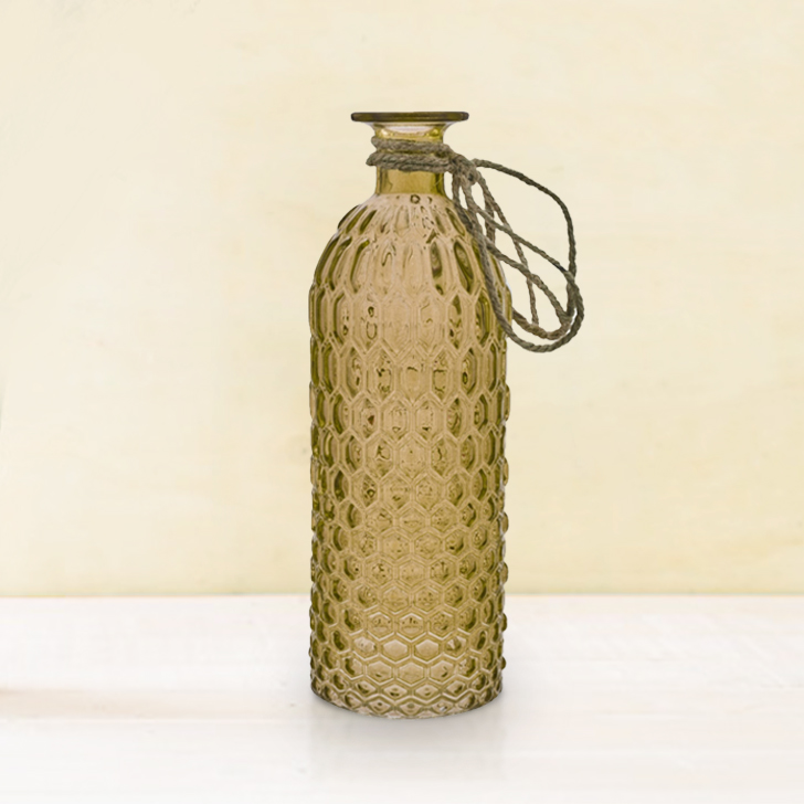 Verve Faceted Vase with Jute 25Cm Citron Glass Vases in Citron Colour by Living Essence