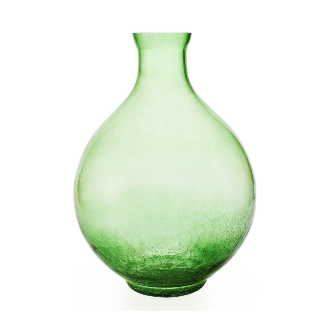 Giana Crackle Vase 20 cm Small Green Glass Vases in Green Colour by Living Essence