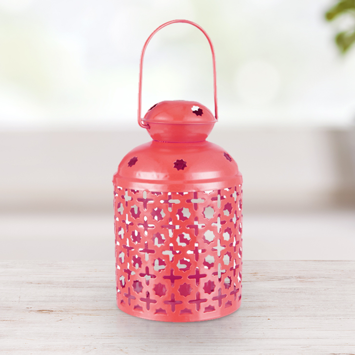 Allure Pink Capsule Lantern Metal Lanterns in Pink Colour by Living Essence