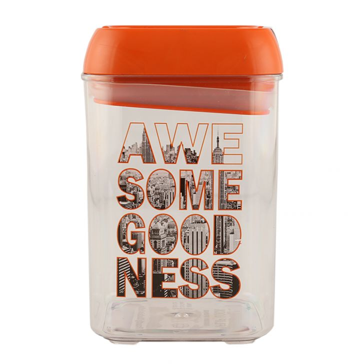 Awesome Goodness Mid Cont 860 Ml Polycarbonate Containers in Orange Colour by Living Essence