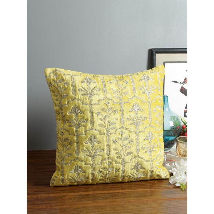 Sirah Velvet Cushion Covers in Yellow Colour by Living Essence