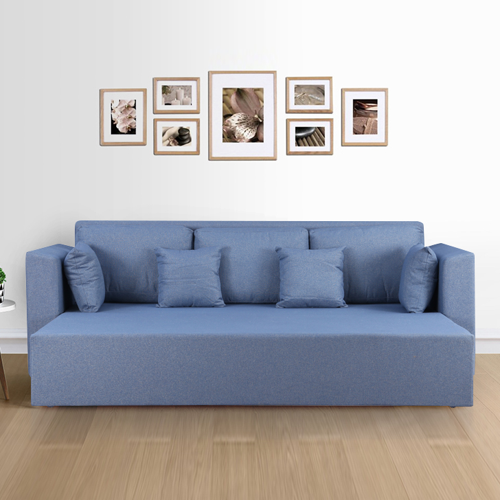Nevile Fabric Three Seater Sofa in Blue Colour by HomeTown