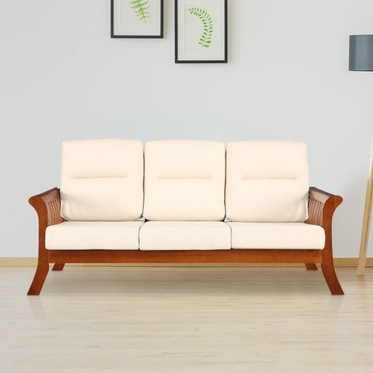 Aubrey Solid Wood Three Seater Sofa with Cushion in Beige Colour by HomeTown